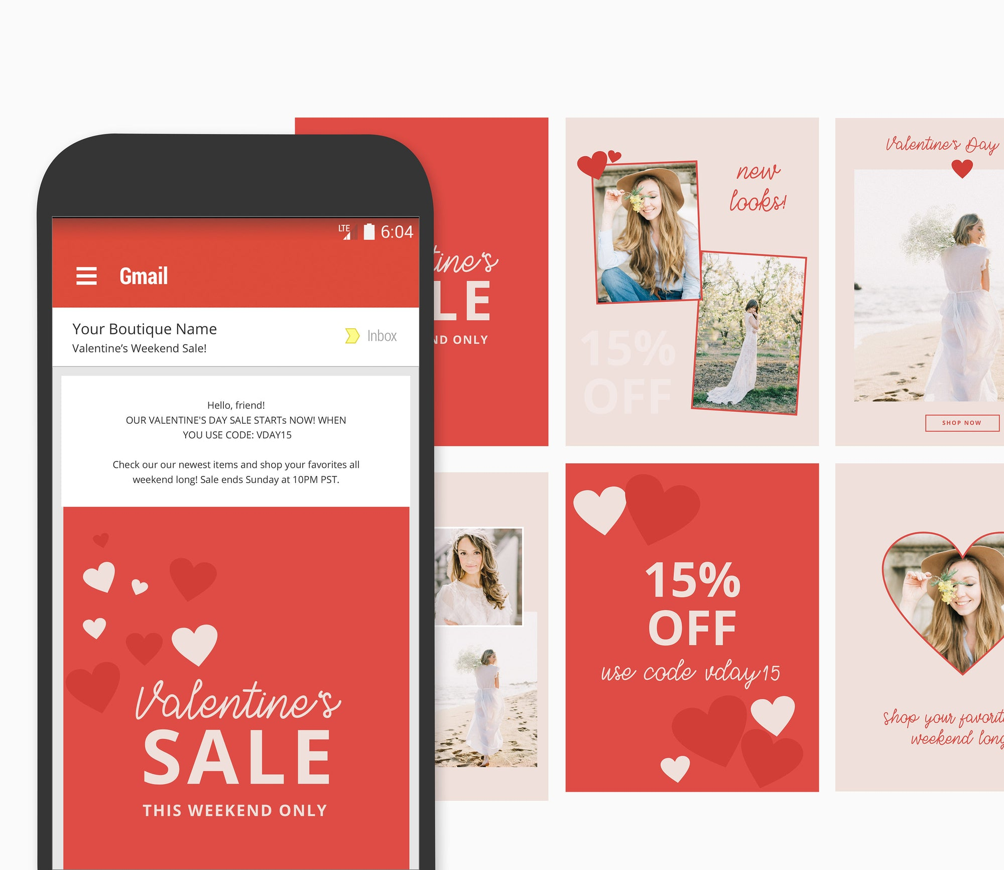 Valentine's Day email marketing set, email marketing templates, boutique email marketing, valentine's day marketing set, email templates