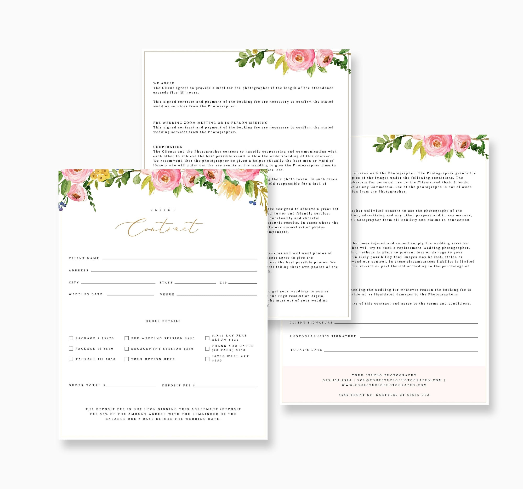 Photography Agreement Form, Contract Form Template, Editable Photography Template, Contract Template, Contract Agreement Template