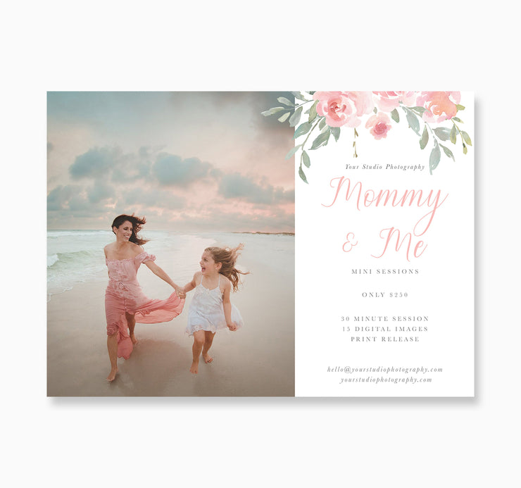 Mommy & Me Session Template, Mini Session Template, Photoshop Templates for Photographers, Mommy and Me Photography Template, Marketing