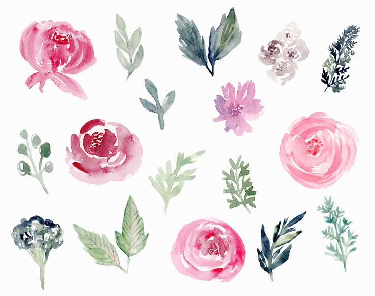 Watercolor Flowers, Watercolor Flower Clipart, Floral Clipart, Burgundy Watercolor Flowers, Wedding Flowers Clipart, Navy and Burgundy