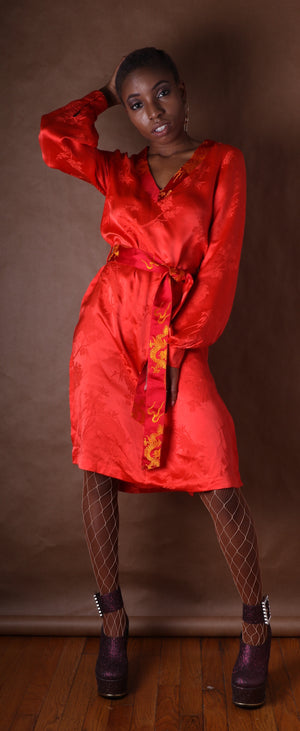 Thea Porter Couture for Giorgio Beverly Hills red silk mini dress