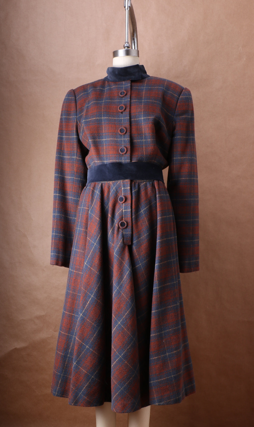 Arnold Scaasi Couture Wool Plaid Shirt Dress c. 1980