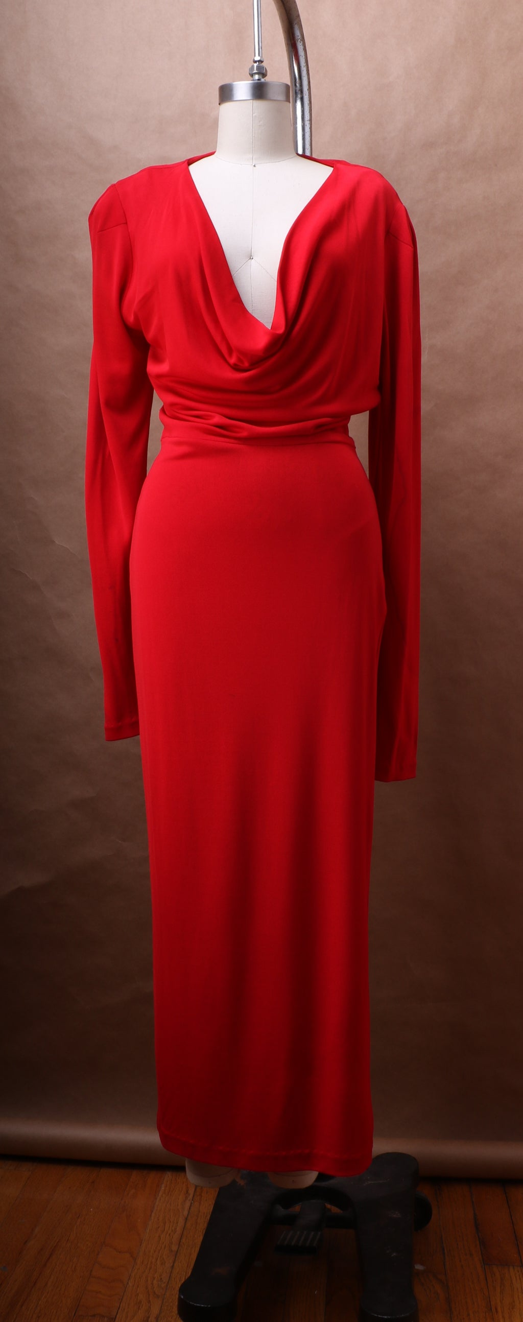 Norma Kamali Cowl Neck Stretch Jersey Dress c. 1990