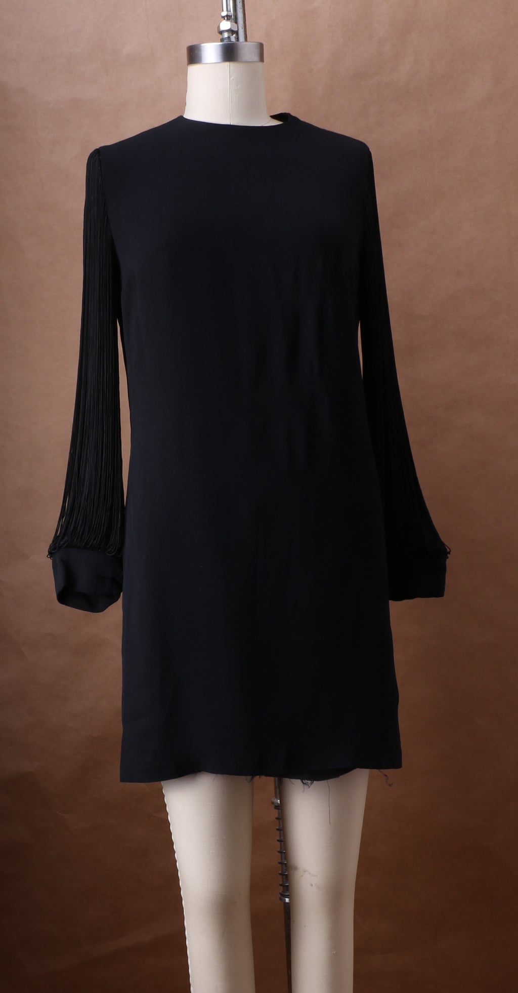 Anne Fogarty Silk Crepe Mini Dress w/ Silk Fringe Sleeve c. 1965