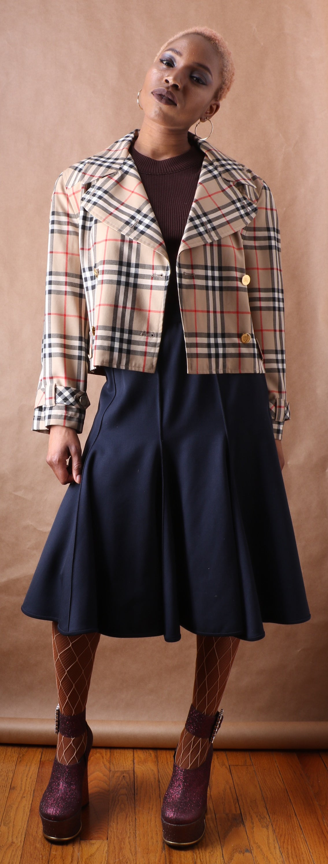 Rare Burberry Plaid Cropped Jacket c. 1985
