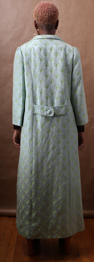Couture Acid Green Brocade Maxi Coat c. 1975