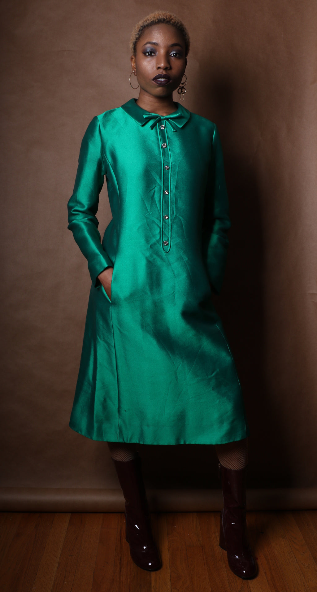 Emerald Green Tea Length Metallic Woven Shirt Dress w/ Rhinestone Buttons c. 1965