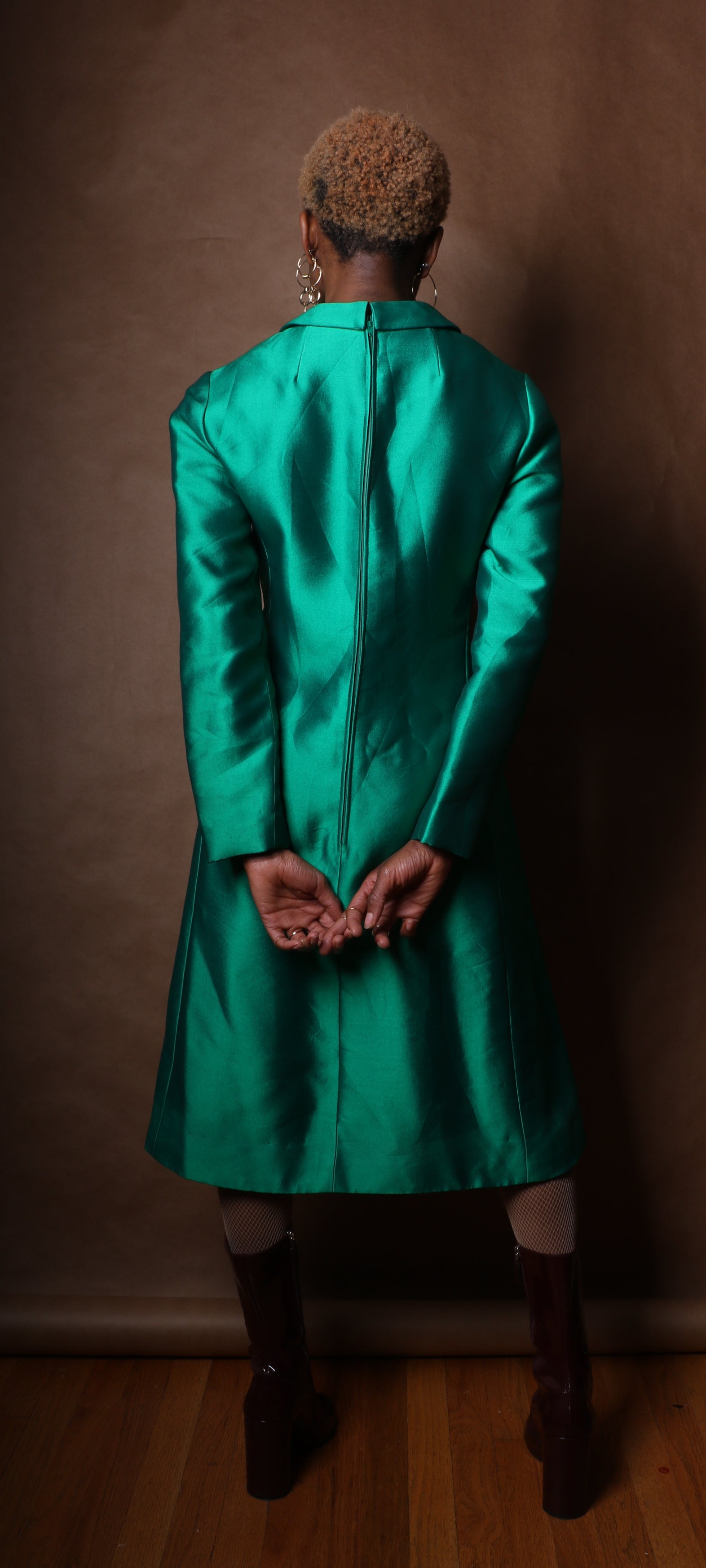 Vintage emerald green metallic woven shirt dress