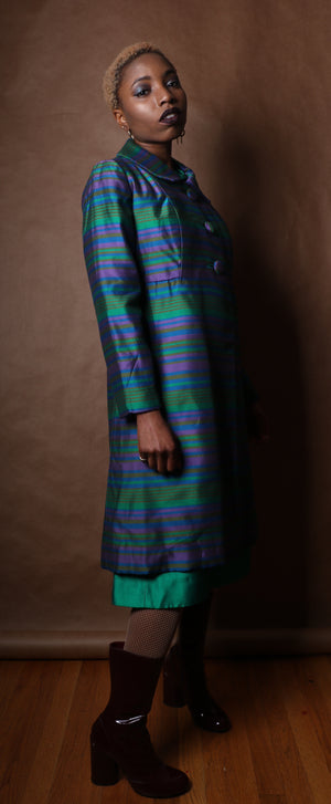 Vintage multicolor metallic woven silk blend overcoat