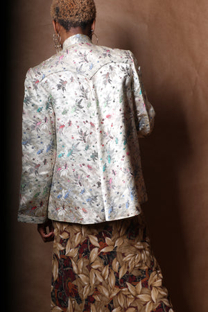 Asian Silk Coy Fish Printed Mandarin Collar Jacket c. 1950