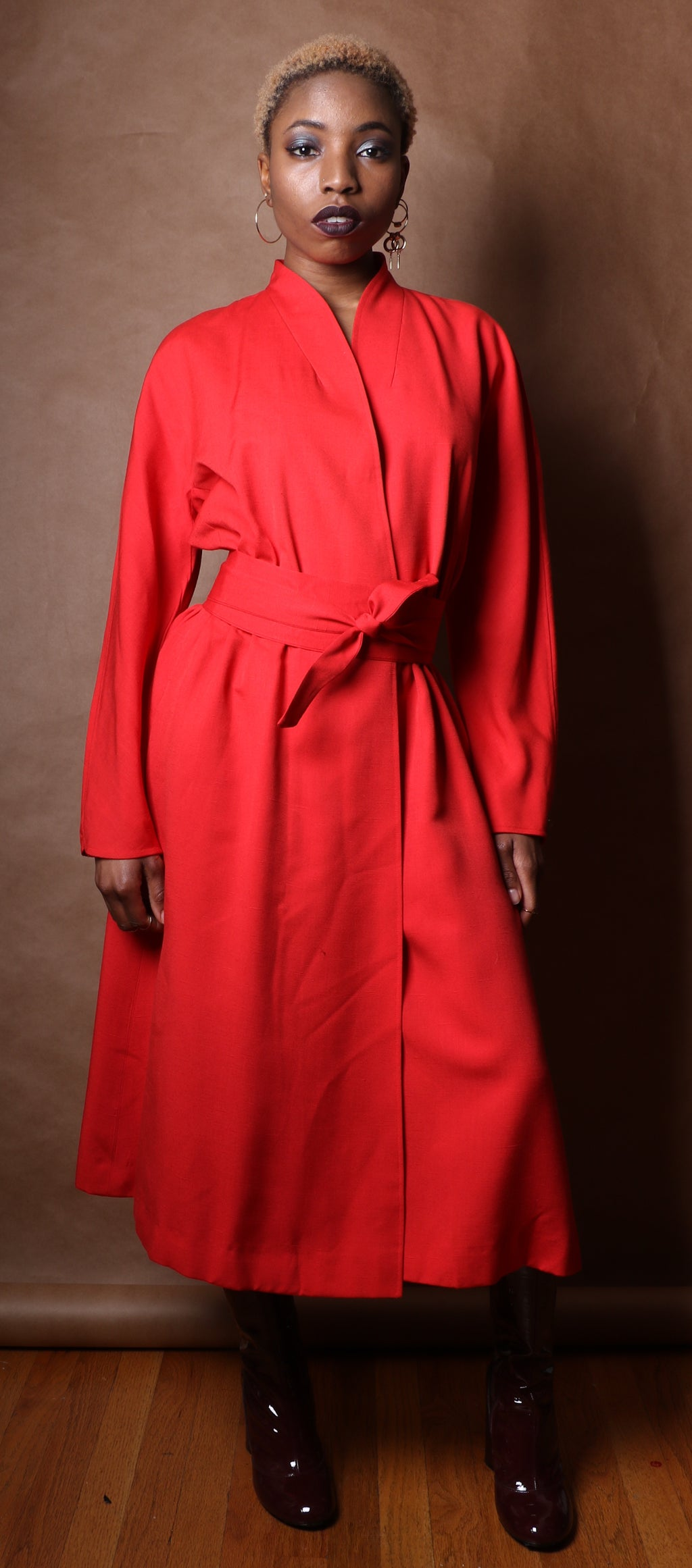 Halston red silk shantung kimono style wrap dress