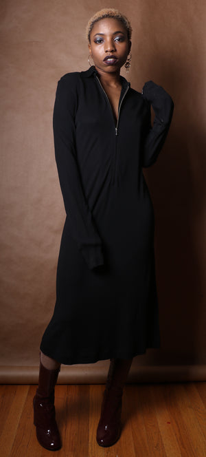 Jean Paul Gaultier black stretch rayon zip-front dress
