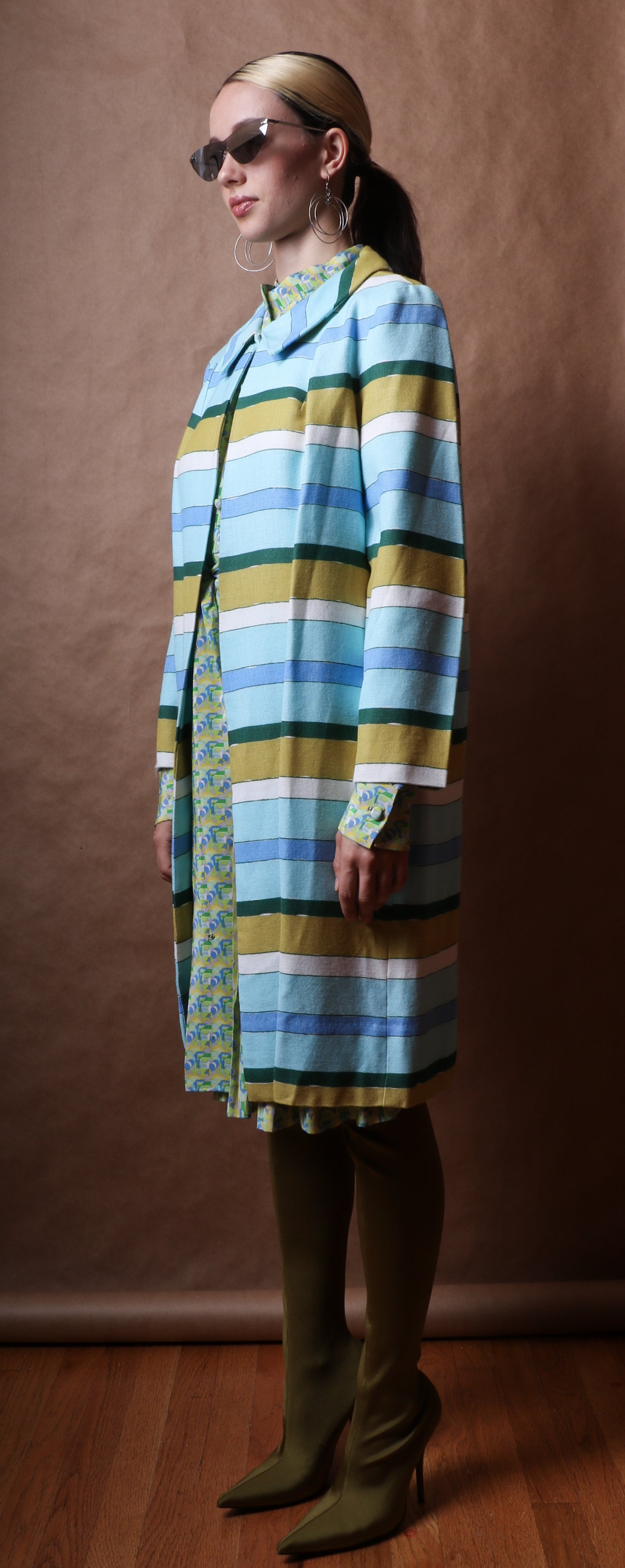 Horizontal striped watercolor printed cape