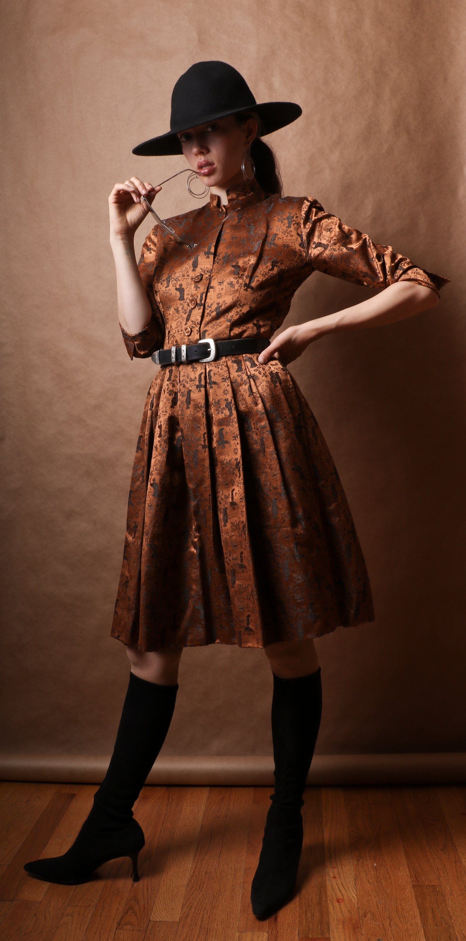 "Ceil Chapman bronze silk brocade ""New Look"" dress"