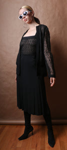 Christian Dior for Saks Fifth Avenue black embroidered lace dress set