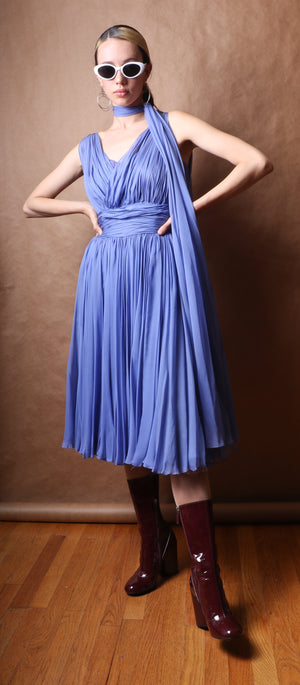 I. Magnin Pale Blue Silk Chiffon Party Dress c. 1955