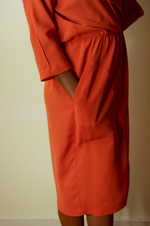 Theirry Mugler coral snap front wrap dress