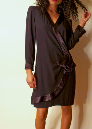Loris Azzaro black silk wrap dress