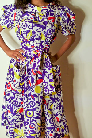 Jean Patou multicolor floral printed silk dress