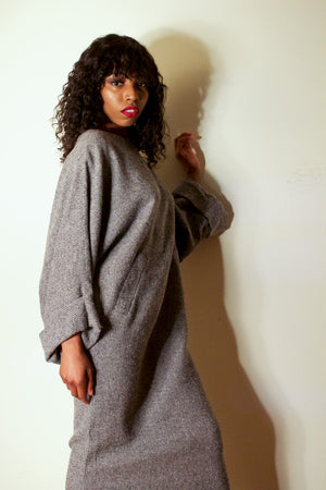 Karl Lagerfeld grey alpaca kimono inspired maxi dress