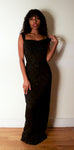 1990s Vicky Tiel for Bergdorf Goodman black mesh beaded gown