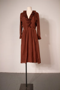 Max Dietl Munchen brown textured silk demi-couture dress