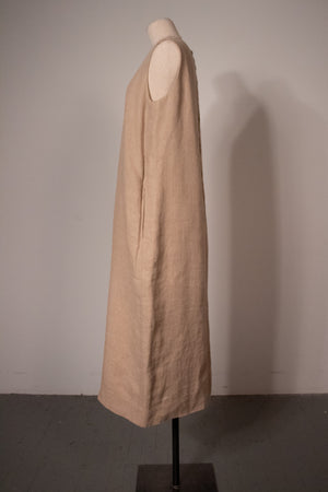 Hermès by Martin Margiela brown linen maxi dress
