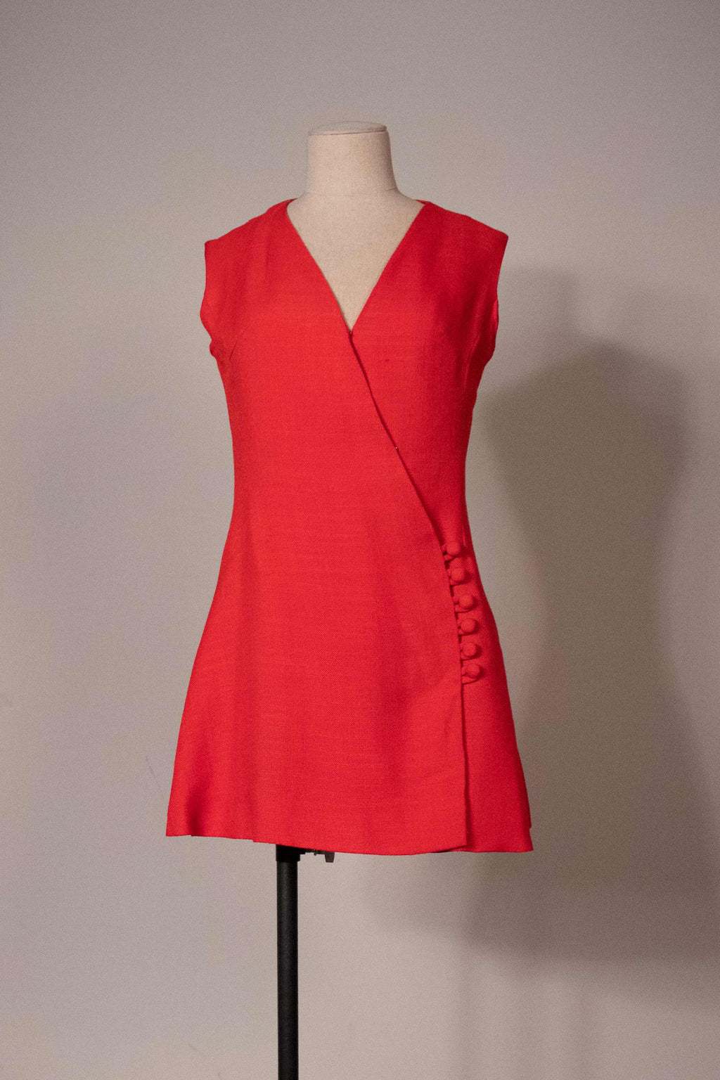 1960s red linen blend mini dress