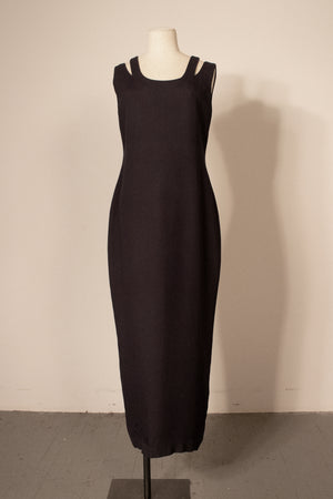 Gianni Versace Couture navy silk blend maxi dress