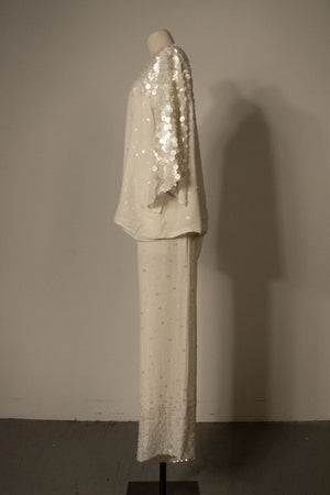 Givenchy white silk embellished ensemble (Plus Size)