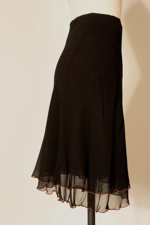 Stephen Burrows World for Bloomindales black silk crepe skirt set