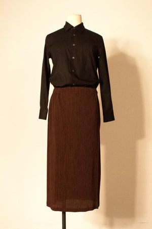 Issey Miykake for Bergdorf Goodman brown pleated midi skirt