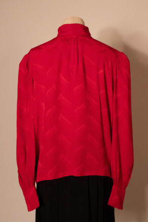 Andrea Odicini red textured silk blouse