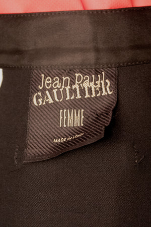 Jean Paul Gaultier black wool wrap skirt