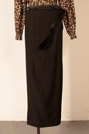 Jean Paul Gaultier Classique black virgin wool maxi wrap skirt