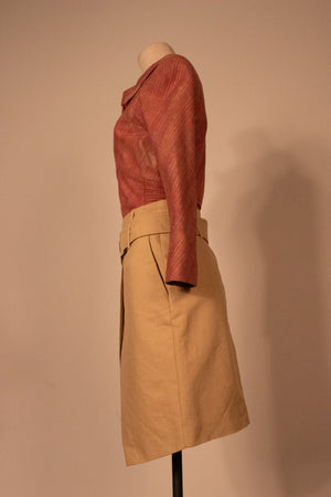 Barbara Bui beige cotton faux wrap skirt