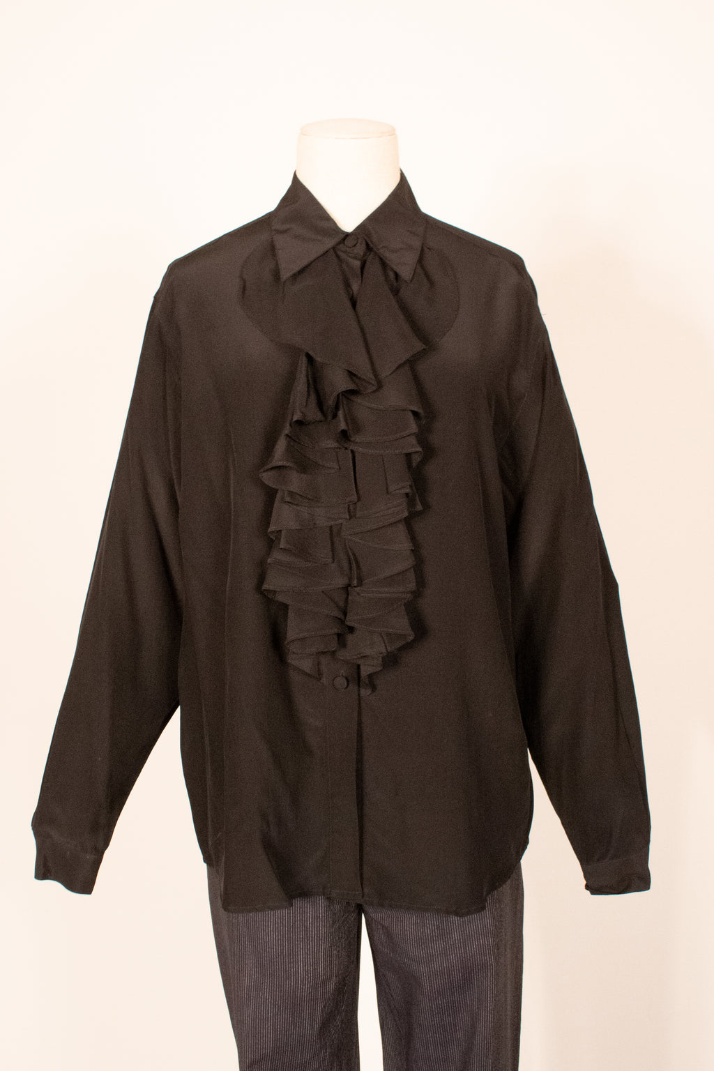 Henri Bendel black silk ruffle blouse