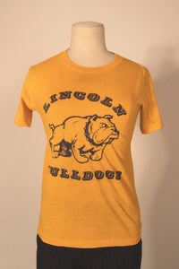 Lincoln Bulldogs yellow 50/50 tee