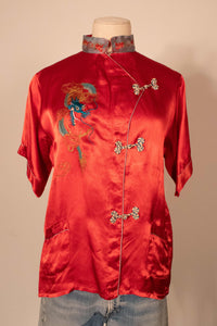1940s red embroidered satin shortsleeve top