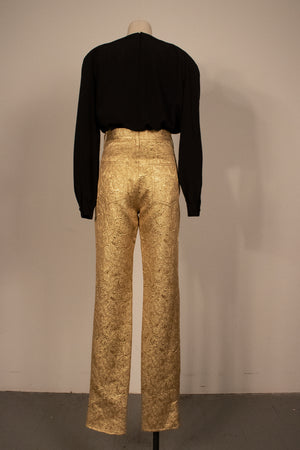 Maison Margiela cotton-silk brocade jeans (Size 48)