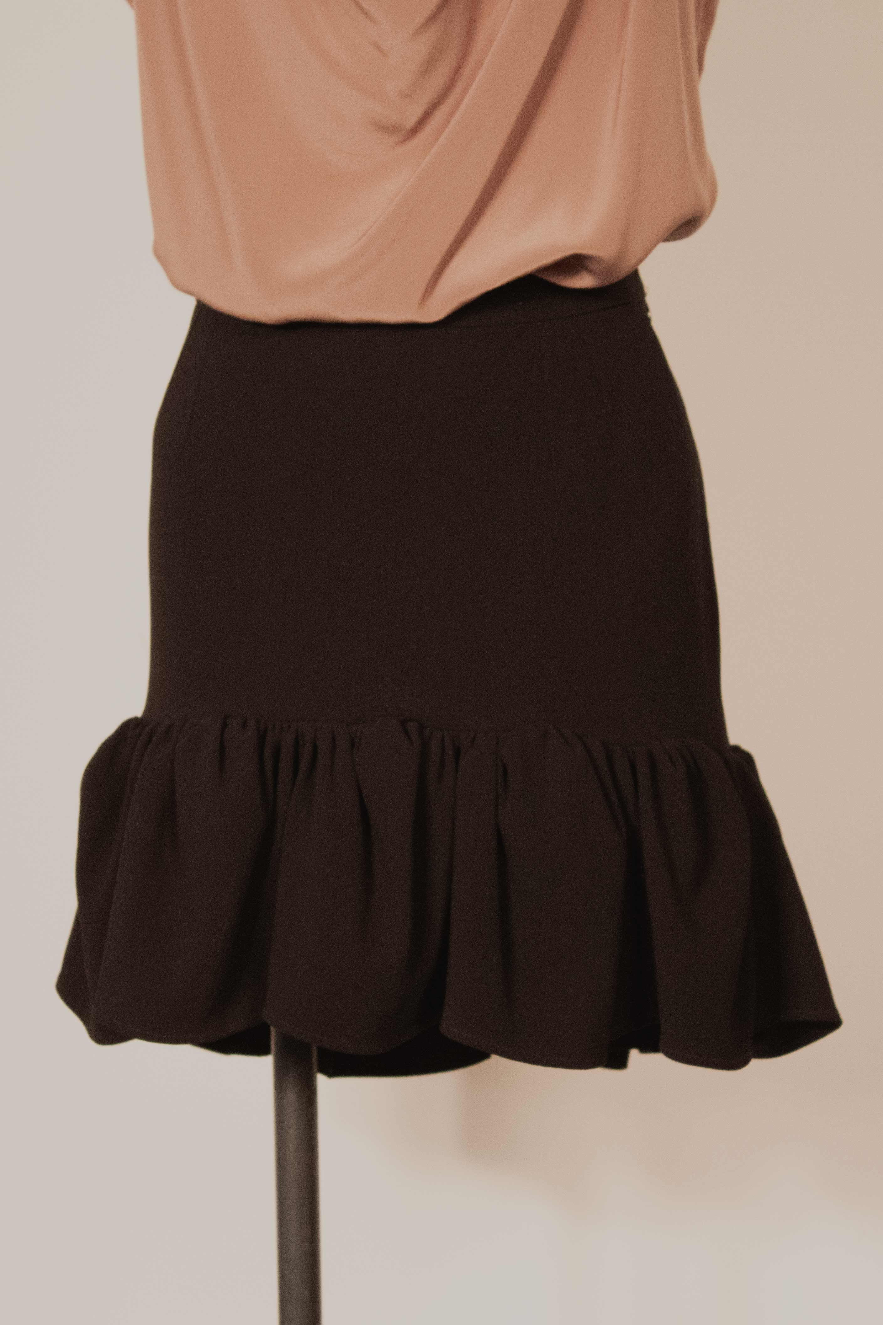 Balenciaga black knit ruffled mini-skirt