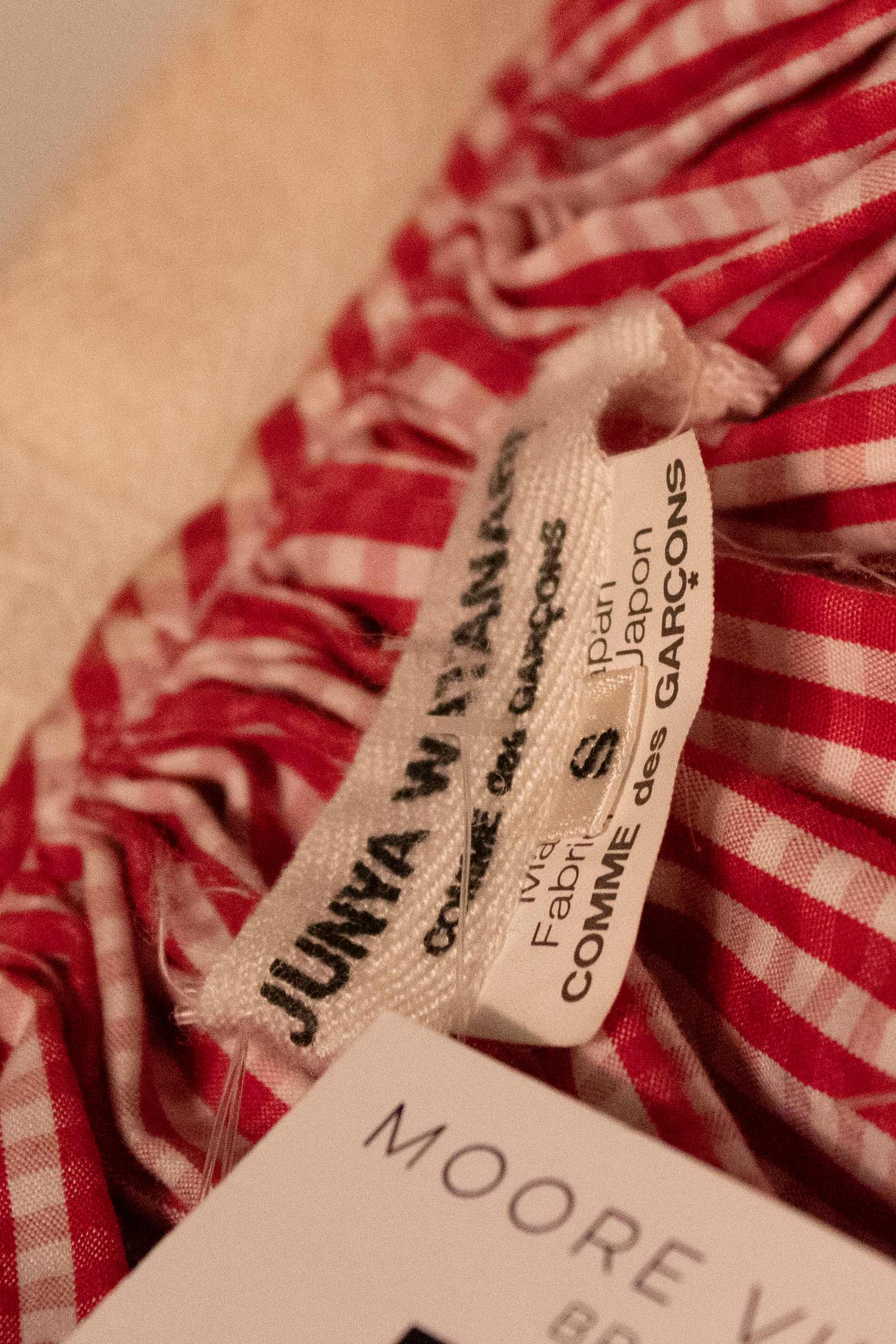 Junya Watanabe red and white gingham African trim dress