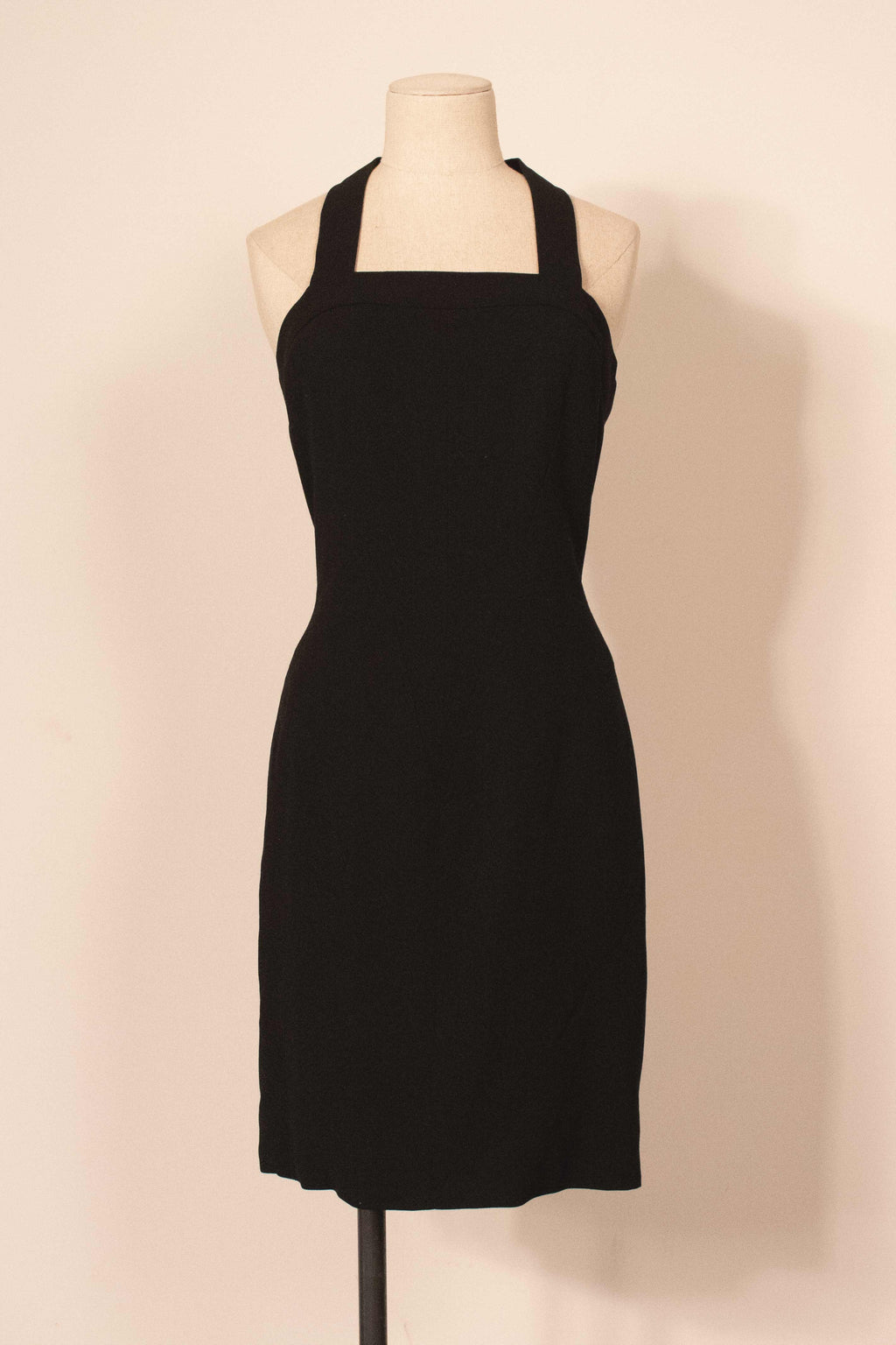 Chanel black wool seamed tank mini-dress