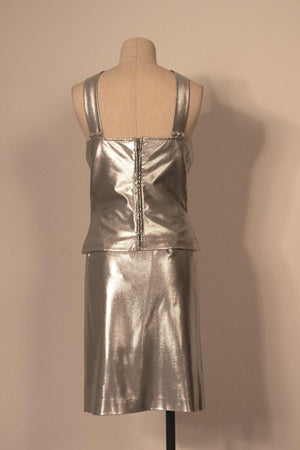 Versace silver nylon two piece skirt set
