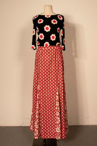 Patty Woodard red and white cotton fulllength godet skirt