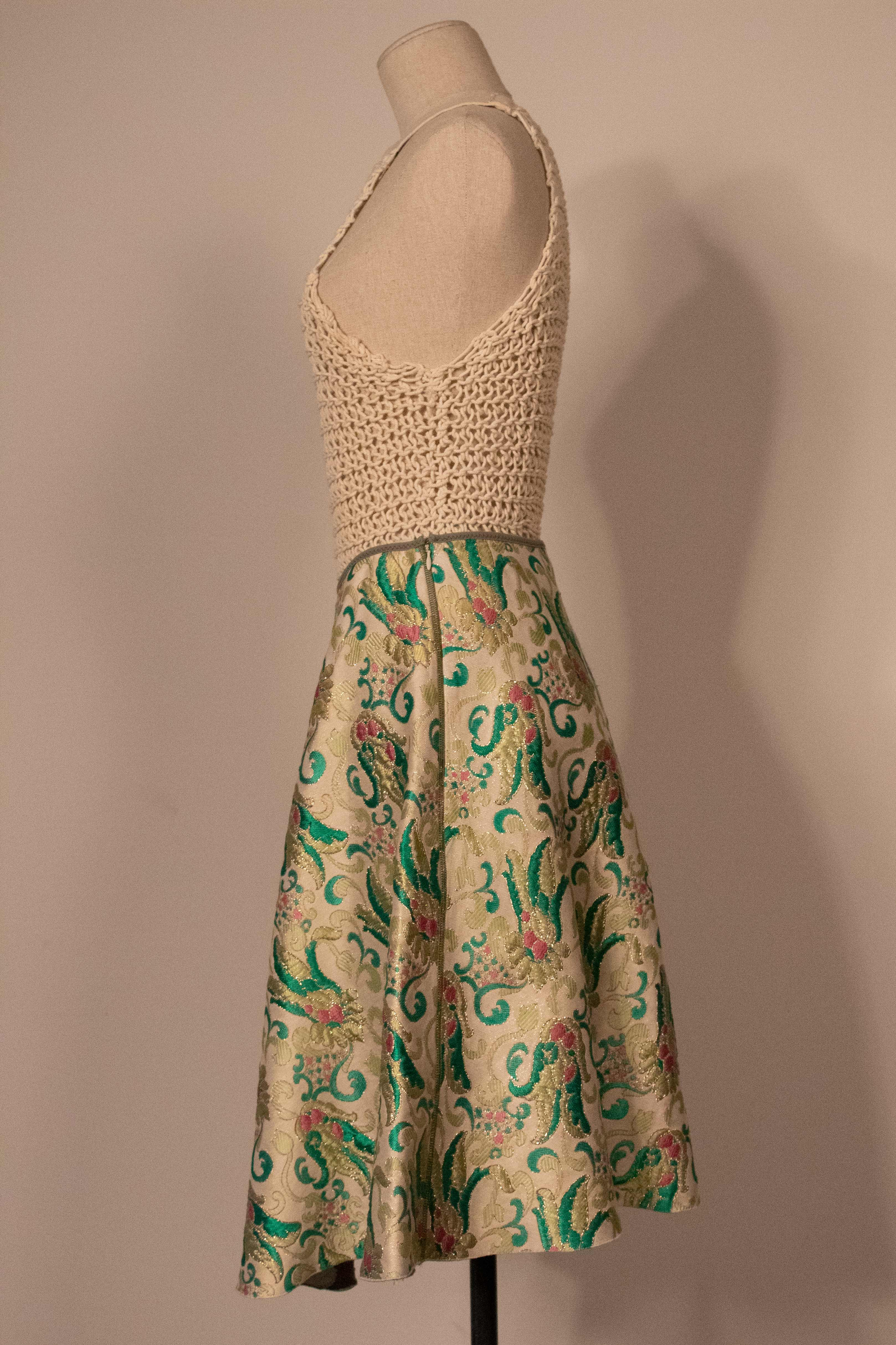 Prada cream and green brocade A-line skirt