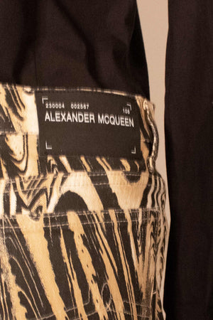 Alexander Mcqueen cream cotton printed flare jeans