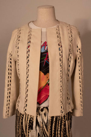J Mendel cream macrame leather jacket