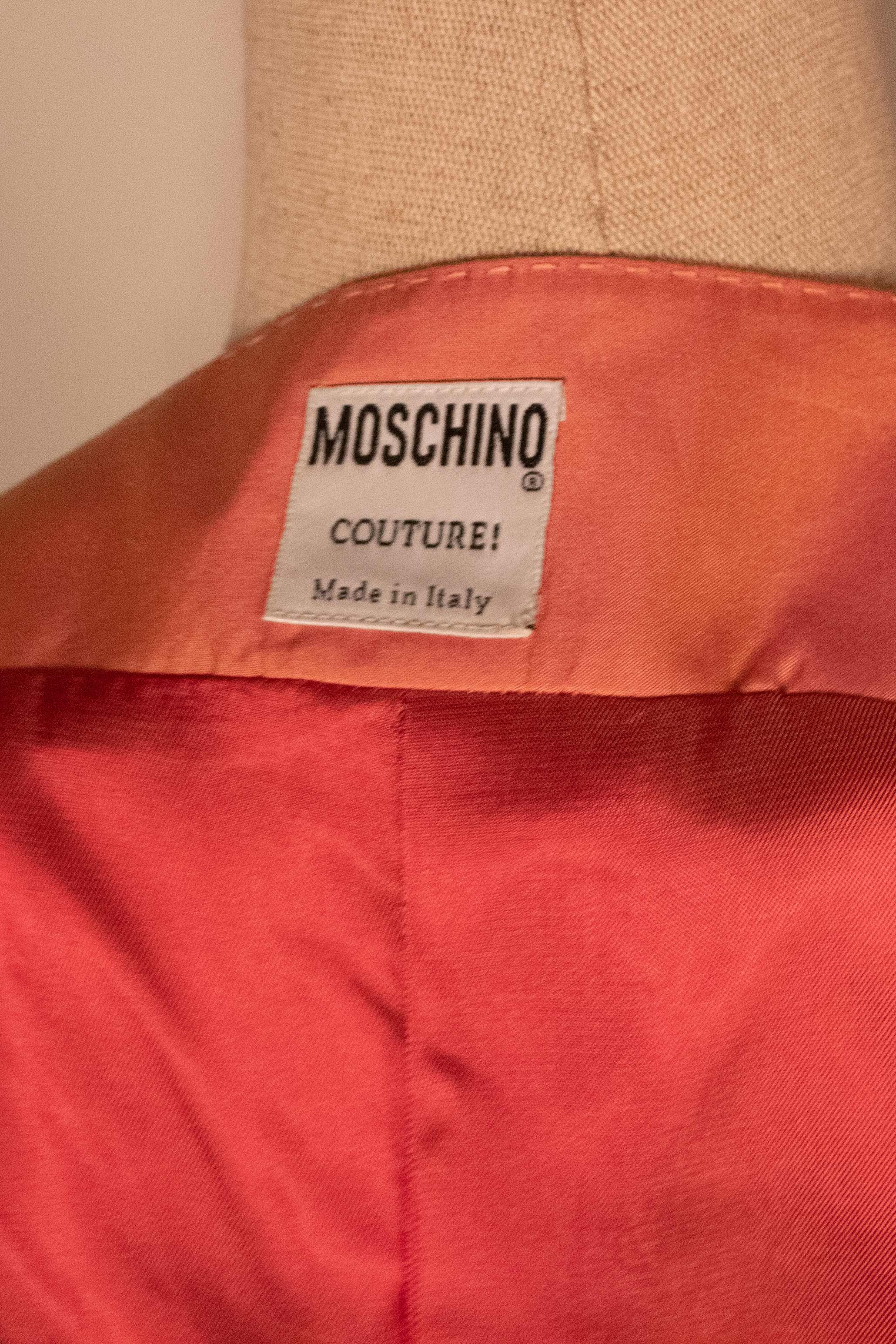 Moschino peach silk fitted vest
