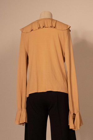 Mirror Room tan rayon crepe ruffled blouse